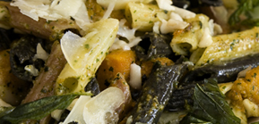 Penne Pasta With Pumpkin, Macadamia Nut, Chilli and Basil Pesto