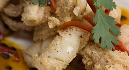 Sezchuan Pepper Squid With Passion Fruit Chilli Sauce